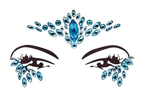 Gesicht und Körper Juwelen Gem Sticker Edelstein Aufkleber Glitter MAKE-UP für Party Festival Shows und Bühnenauftritte 1809 Blau (Körper Juwel Kleben)