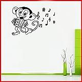 stickers muraux sticker mural Dessin animé Singe Jouer Accordéon Enfants Chambre Chambre Décorations De La Musique Symbole Stickers Décor À La Maison