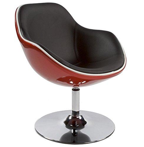 Alterego Fauteuil Design Boule pivotant Rond Simili Cuir Rouge et Coque Noir Pied métal chromé rétro Vintage Hauteur Assise 48 cm Space