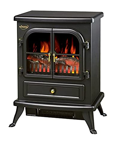 FoxHunter New Log Burning Flame Effect Electric Stove Fire Place Fires Fireplace Heater 1850W Max Output 2 Heat Settings Black Cast Iron Effect Finish