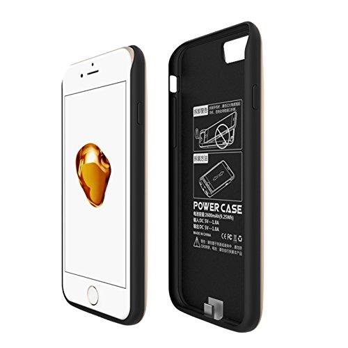 CaseforYou Batteriefach Hülle iPhone 7 2600mAh Taschen Schalen Akkus Rechargeable External Battery Backup Protective Case Power Bank Charger Cover Batteria Schützend Batterie-Schutz für iPhone 7 (Rose golden