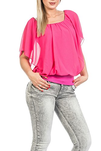 Fledermaus loose fitting Tops in kurzarm Chiffon in verschiedenen Farben DS 361 Pink