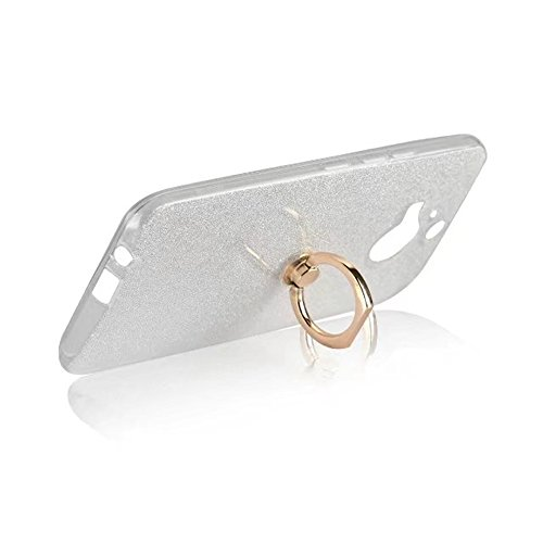 Soft Flexible TPU Back Cover Case Shockproof Schutzhülle mit Bling Glitter Sparkles und Kickstand für HTC M9 Plus ( Color : White ) White
