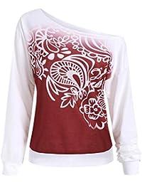 ★★★Ropa Mujer,Las Mujeres Casuales Otoño Impreso Manga Larga Camiseta Blusa Camiseta,