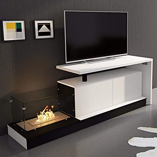 SelectionHome - Mueble salón escritorio y chimenea bioetanol, Blanco Mate y Blanco...