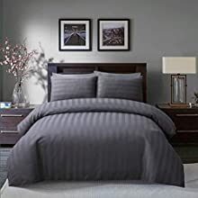 Sleepdown Soft Hotel Quality 250 THREAD COUNT POLYCOTTON Satin Stripe Duvet Cover Set With Pillowcases in Grey Colour(Super King)