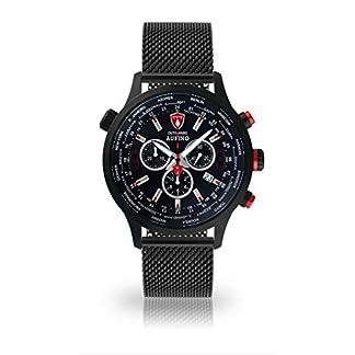 DETOMASO AURINO Reloj Caballero Cronógrafo Analógico Cuarzo Negro Correa Milanesa Esfera Negra DT1061-A-851