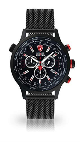 DETOMASO AURINO Montre Homme Chronographe Chronographe Analogique Quartz Noir Bracelet Milanaise Cadran Noir DT1061-A-851