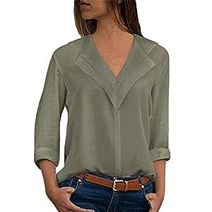 ◑‿◑ JUSTSELL Pullover für Damen,Frauen V-Ausschnitt Hemdbluse Lange Ärmel Oberteile Einfarbig Bluse Casual Pullover Tops(S-5XL)
