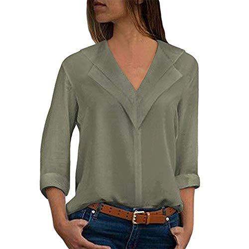 TOPSELD T Shirt Damen, Mode FüR Frauen Chiffon Feste T-Shirts BüRo Plain Rollten ÄRmel Bluse Tops (Hunde T-shirt Plain)