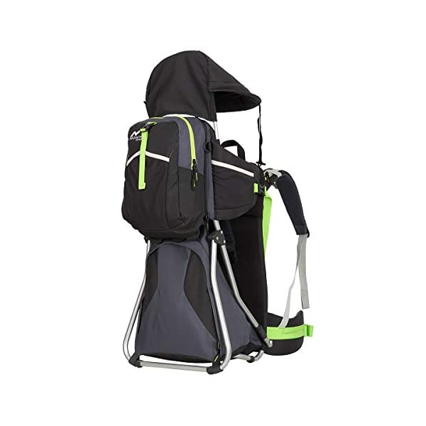 MONTIS HIKE, Premium Back Baby/Child Carrier, Up to 25kg, (black) M MONTIS OUTDOOR 89cm high, 37cm wide | up to 25kg | various colours | 28L seat bag Laminated and dirt-repellant outer material | approx. 2.2kg (without extras) Fully-adjustable, padded 5-point child's safety harness | plush lining, raised wind guard, can be filled from both sides | forehead cushion 2