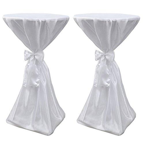Festnight Nappe de Table avec Ruban pour Table Ronde 70cm 2pcs Blanche