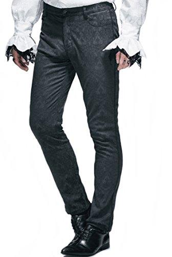 Festliche Herren Hose zum Frack Jaguard schwarz Gothic Kostüme (XL) (Black Devil Kostüme)