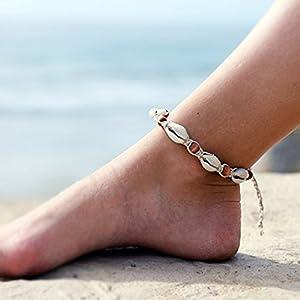 Aukmla Fußkettchen, verstellbare Größe, Boho-Strandschmuck, barfuß Charm