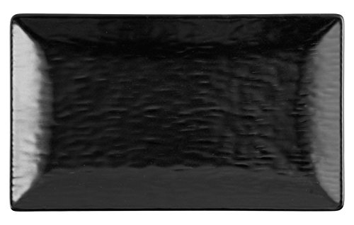 H&H Wavy Set 6 Piatti Rettangolari, Stoneware, Nero, 25x15 cm, Stone Ware, unità
