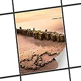 creatisto Fliesendeko Dekosticker | Fliesen Sticker Aufkleber Folie Selbstklebend Bad renovieren Küche Wandsticker | 20x25 cm Design Motiv Beach Romance - 1 Stück