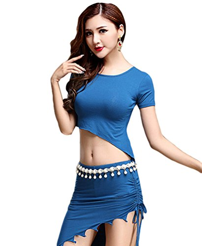 YiJee Damen Bauchtanz Set Tops Bandage Indischer Tanz Belly Dance Rock Blau M