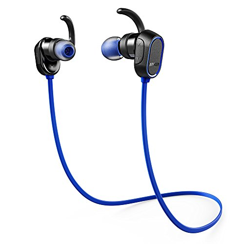 Anker SoundBuds Sport Kopfhörer Bluetooth 4.0 Halsband Ohrhörer Wireless, 8-Stunden-Spielzeit, IPX4-klassifiziert spritzwasserfest für Joggen, Workout, Fitness, Headphones mit Mikrofon für iPhone, Android, MP3 & Weitere (Blau)