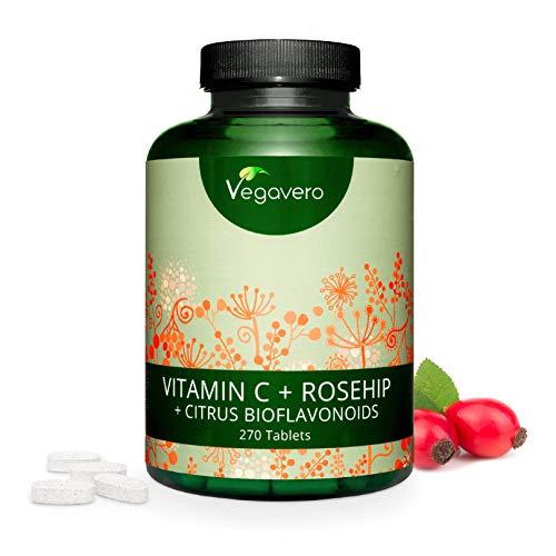 Vitamina C 1000 mg Vegavero® | 270 compresse (9 MESI) | Con Rosa Canina e Bioflavonoidi | Vegan
