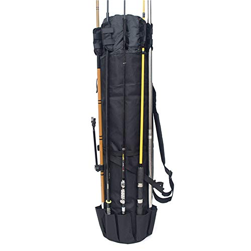 W·KING Angeltasche Fishing Pole Fall Angelrolle Rod Organizer Reise Carry Case Trägerhalter Pole Werkzeug-Speicher-Beutel Durable Folding Tackle Bag,Schwarz -