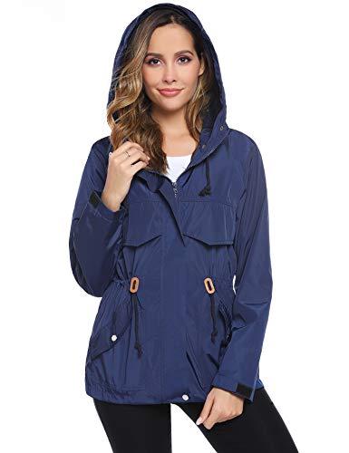 Hawiton Damen Regenjacke Leichte Outdoor Jacke Wasserdicht Übergangsjacke mit Kapuze und