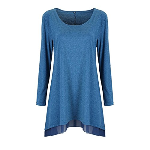 Ballett Langarm-pullover (Damen Kleider, GJKK Damen Elegant Langarm Bluse Geschichteten Scoop Neck Tunika Lose Fit Kleid Kurz Minikleid Party Kleid T-Shirt Kleid (Blau  , L))