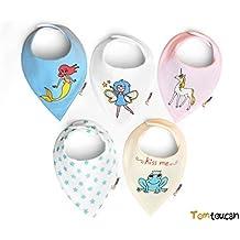 Tomtoucan baberos de bebe - Juego de 5 diseños Unisex (Fantasy)