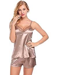 972a2f93b1 Women Satin Cami Set Pajamas Set Adjustable Strap Sexy Lingerie Sleepwear