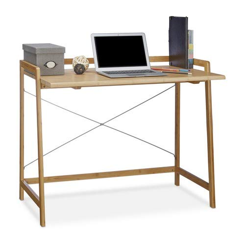 Relaxdays Schreibtisch Holz, moderner Computertisch mit Kreuzstrebe für Jugendliche, Bambus, HBT 80 x 98,5 x 59 cm, Natur