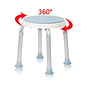 MCTECH silla de ducha taburete baño taburete altura regulable – Taburete de baño giratorio 360 ° ducha Asiento baño…