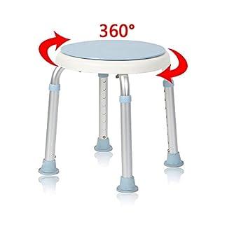 MCTECH silla de ducha taburete baño taburete altura regulable – Taburete de baño giratorio 360 ° ducha Asiento baño Asiento de aluminio y plástico para Edad, embarazada de