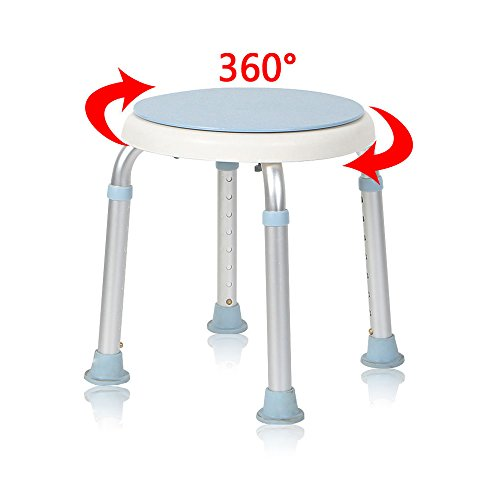 MCTECH® Duschhocker Duschstuhl Badehocker Höhenverstellbar Badhocker 360° Drehbar Duschhilfe Duschsitz Badsitz aus Alu und Kunststoff für Alter, Schwangere aus