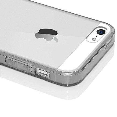 iPhone SE 5 5S Coque Silicone de NICA, Ultra-Fine Housse Transparente avec Contour de Protection Cover Slim Etui, Mince Telephone Portable Gel Bumper Case pour Apple iPhone 5 5S SE - Jaune Gris