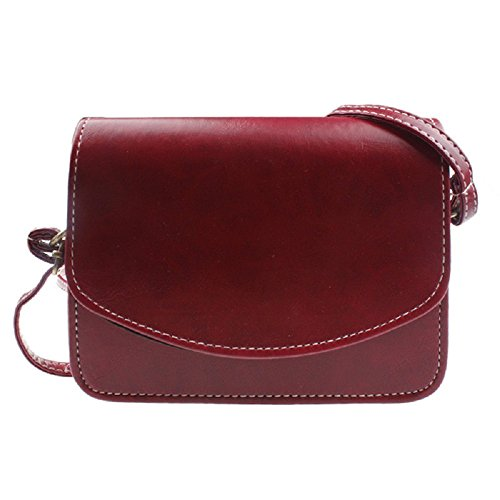 Women Shoulder Bag, Rcool Women Imitation leather Shoulder Bag Satchel Handbag Retro Messenger Bag (Red)