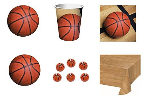 coordonné enfants Sport Basket pour anniversaire événements décorations table Fête - Kit N ° 2 CDC- (16 assiettes, 16 gobelets, 18 Serviettes, 1 nappe, 6 bougies forme ballon basket)