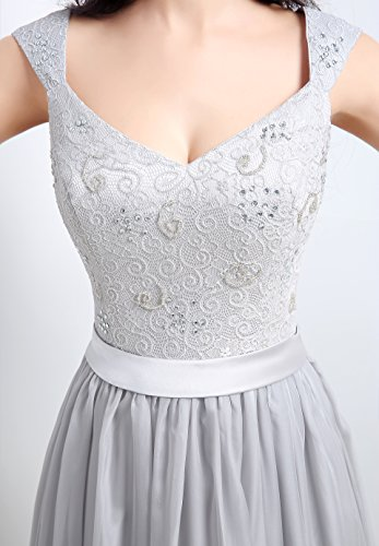 Bridal_Mall -  Vestito  - linea ad a - Senza maniche  - Donna grigio argentato