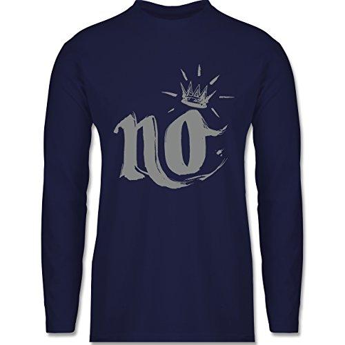 Shirtracer Statement Shirts - Nö Krone - Herren Langarmshirt Navy Blau