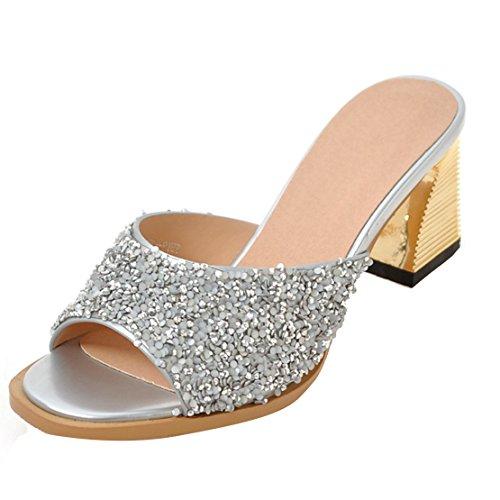 AIYOUMEI Damen Glitzer Offen Blockabsatz High Heels Pantoletten mit 6cm Absatz Bequem Modern Pailletten Sandalen Silber