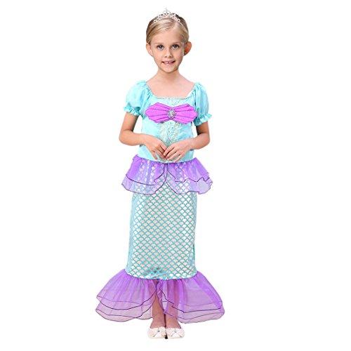 YYF Kinder Mermaid-tail Fancy Rüschen Prinzessin Ariel Bling Cosplay (Kleid Ariel Kostüm)