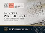 """High White Saunders Waterford Block 300gsm 228 x 304mm (9"""" x 12"""") 20 Sheets Hot Pressed"""