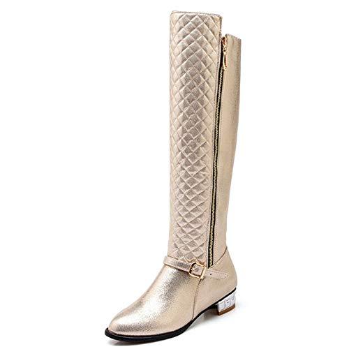 HAOLIEQUAN Größe 34-45 Schnalle Frauen Stiefel Platz Heels Winter Schuhe Frauen Zip Kniehohe Stiefel Damenmode, Gold, 10
