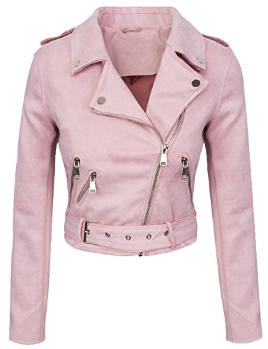 Rok Creek Selection Designer Damen Übergangs Jacke Wildlederoptik Sommer Jacke kurz Jacke D-315 [ V3447 Rosa S ]