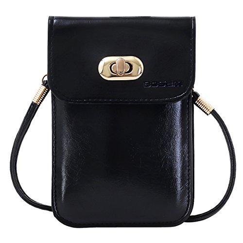 r Handy Geldbörse für Mädchen Premium Vegan Leder bosam Handy mit Abnehmbarer Langer Schultergurt für Apple iPhone 6/6S Plus Smart Phone unter 14cm, Black v ()