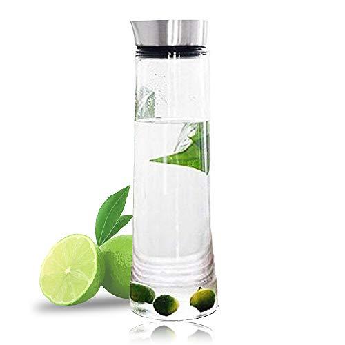 serkaraffe Klassische Krug Saft-Flasche mit Edelstahldeckel Borosilicatglas Eistee Krug für Infusing Wasser, Milch, Saft, Eistee, Limonade und kohlensäurehaltigen Getränken (1.5L) ()