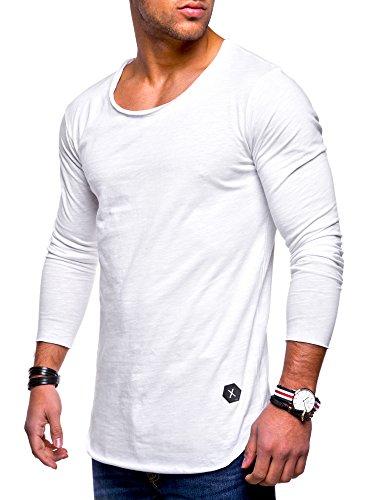 MT Styles Herren Oversize Longsleeve Crew Neck Sweatshirt T-Shirt MT-7315 [Weiß, S] (T-shirt Weiß Crew)
