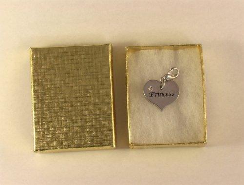 Mainly Metal Robyn – Cœur Nom Prénom Charm – Rhodium (L'Air mieux que Argent.) et Oxyde de zirconium Cristal