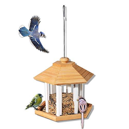JXXDDQ Distributeur de Table Suspendu pour Oiseaux Sauvages, Station de Distribution de graines en Bois pour Oiseaux Sauvages