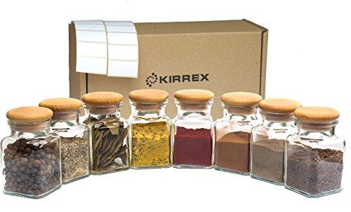 Kirrex Gewürzgläser mit Holzdeckel, 150 ml (8 Gläser)