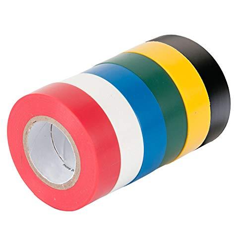 Isolierband, selbstklebend, 16 mm x 15 m, insgesamt 90 m, verschiedene Farben, 6 Stück