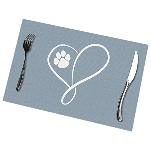 Dimension Art Cat Dog Paw Prints Heart Placemats Set of 4 for Dining Table Washable Polyester Placemat Non-Slip Wear and Heat Resistant Kitchen Table Mats Easy to Clean Paw Prints Hoodie